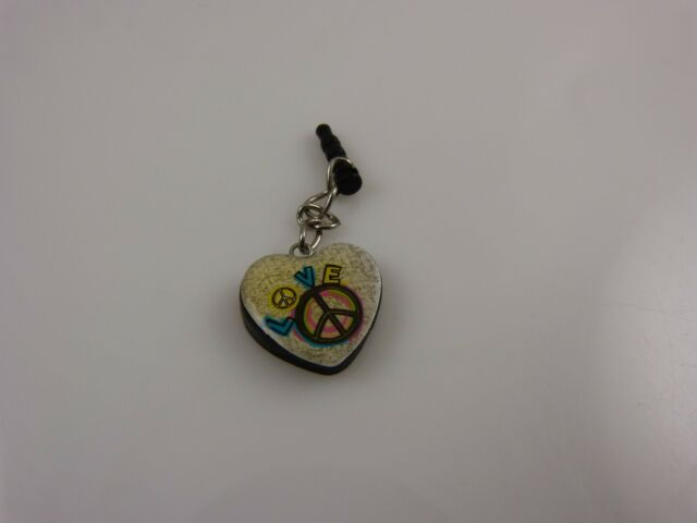 Peace heart cell phone or fit Ipad charm ear cap dust plug