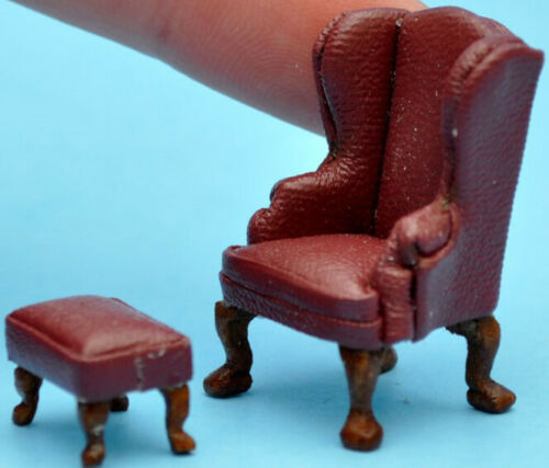 "1:48 1//4/"" Scale Queen Ann Armchair Stool Brown leather Dollhouse Furniture 2066"