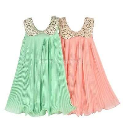 Kids Girls Chiffon Fashion Summer Casual Cocktail Beach Party Sundress Dress
