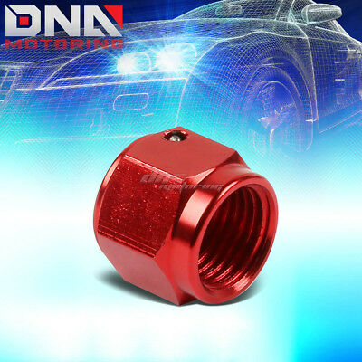 Red 3AN Aluminum Anodize Finish Male Flare Plug Head Nut Cap Lock Fitting Adapter AN-3