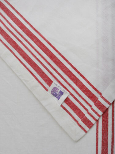 Cotton Table Runner Vintage French Stripes Red