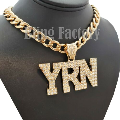"""Details about  /HIP HOP MIGOS LARGE YRN PENDANT /& 18/"""" ICED CUBAN CHOKER CHAIN FASHION NECKLACE"""