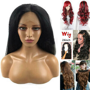 Hot-Straight-amp-Curly-Wig-7A-Brazilian-Remy-Human-Hair-Lace-Front-Wigs-Colored