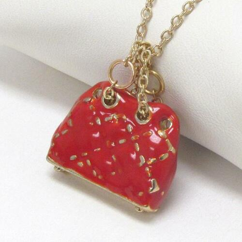 G9 Red Fashion Purse Bag Charm NECKLACE Epoxy Enamel Gold Plated NEW