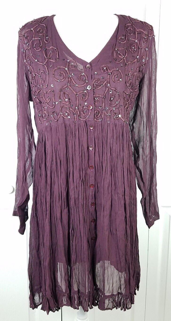 VTG NOSTALGIA womens sz L burgundy sequined embroidered boho long sleeved dress