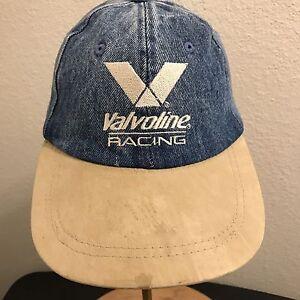 Image is loading Vintage-Valvoline-Racing-Denim-Cap-Hat-Strapback-Blue- 546e43e5704