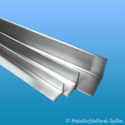 Edelstahl Winkelstahl 20x20x3 mm L 50-250 mm V2A geschliffen K240 1.4301