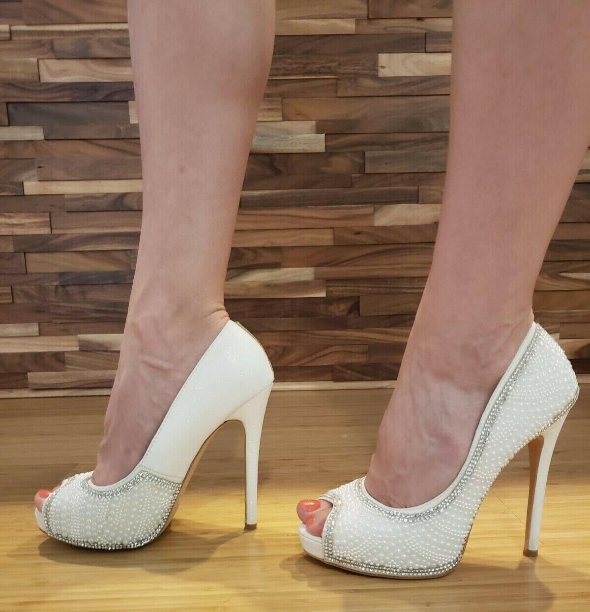 Kvinnor med vita klackar Plattformade skor Peep Toe Pumpar Bröllopsstorlek 6