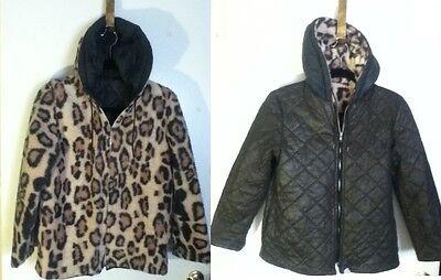 Sm VTG Faux Leopard Fur Reversible Quilt Lined Zip Hood Bomber Parka Prop Jacket