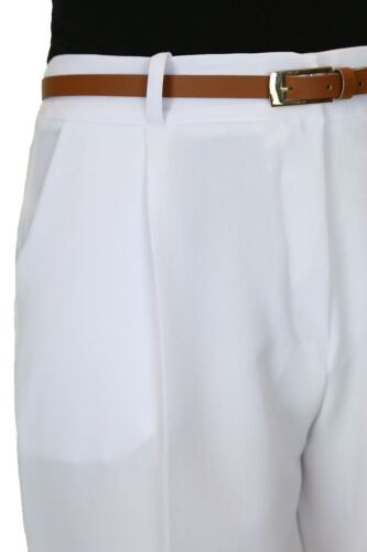 ICE Washable Smart Office Day Trousers FREE Belt White Size 8-22 1539-5