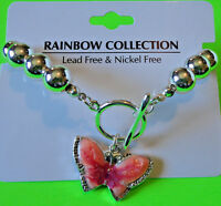 Rainbow Collection Fashion Jewelry Silver Bead Butterfly Bracelet {nwt}