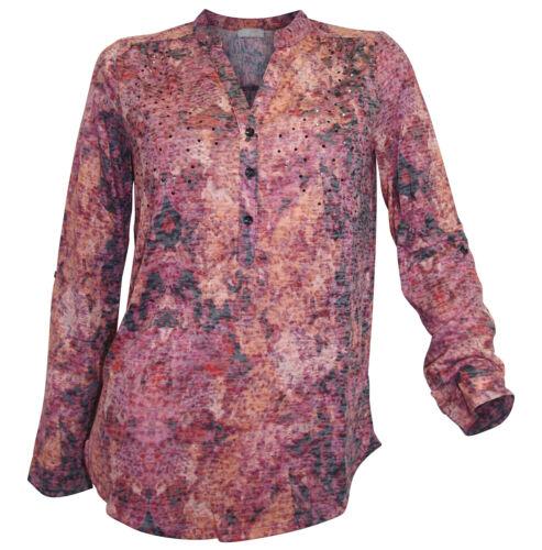 CHEER Ausbrenner Shirt 34 bordeaux gemustert Strass Tunika-Shirt langarm neu