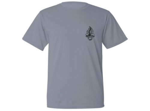 French Foreign Legion Fleur-de-lis gray sweat resist fabric workout new t-shirt