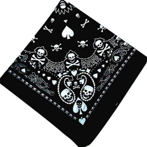 Black Skull Bandana Hiphop Gothic Headwear//Hair Band Scarf Neck Wrist-Headtie#