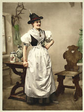 Photochrome Femme en Costume Tyrolien Vers 1890/1900