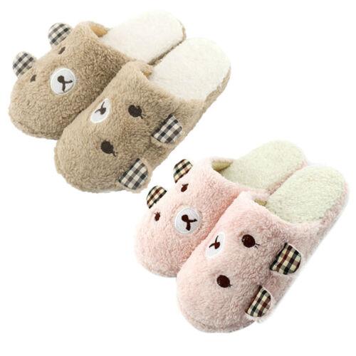Women Men Cute Animal Bear Winter Warm Soft Plush Antiskid Indoor Home Slippers