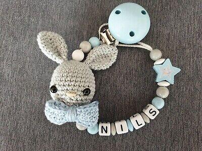 Schnullerkette mit Name Hase Creme/Altrosa | Crochet necklace, Crochet | 300x400