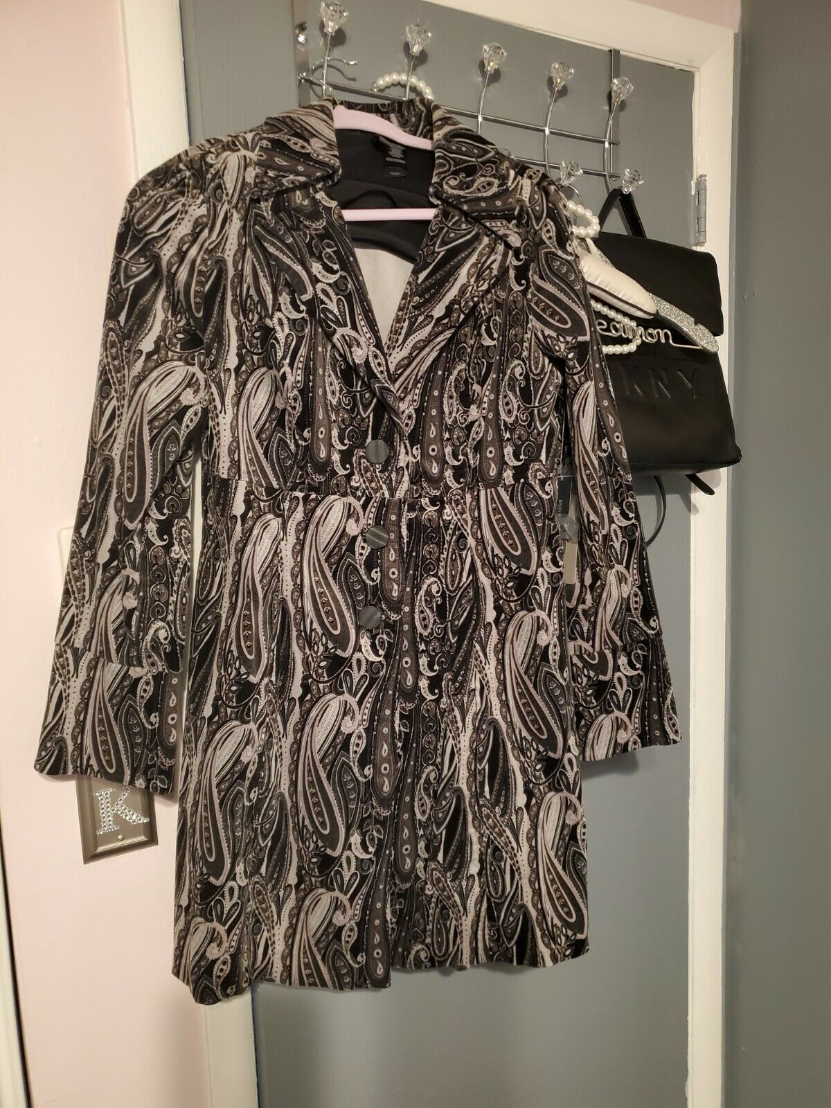 Busoy Bisou Black And Silver Paisley Jacket