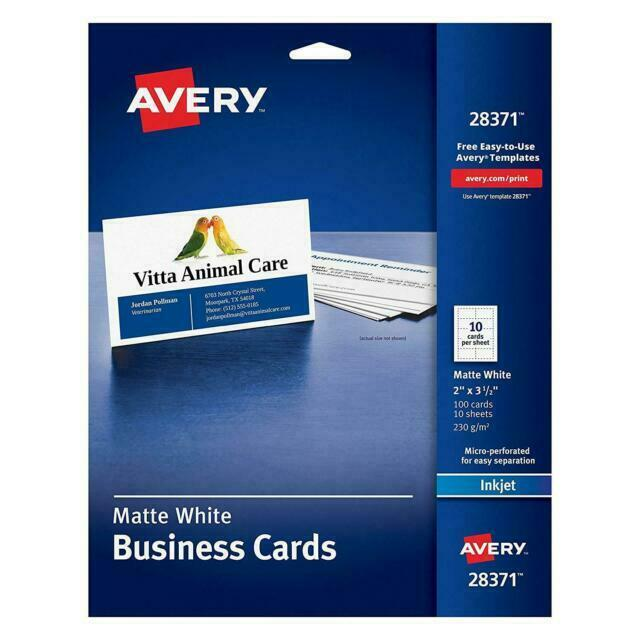 Avery 28371 White Ink Jet Printer Business Cards 100 Count For Sale Online Ebay