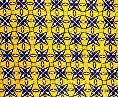 African Fabric 1//2 Yard Wax Print Cotton Ankara BLUE RED YELLOW Abstract BTHY