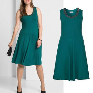 wunderschoen-elegant-Gr-52-54-Jerseykleid-Kleid-gruen-smaragd-Sommerkleid-Perlchen
