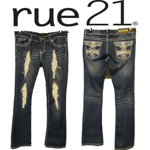 Premiere-Rue-21-women-039-s-jeans-size-7-8-r-boot-Thick-Stitching-Rhinesones
