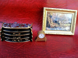 Dolls house 1/12 detailed grate 12v a lovely picture in frame and a mantle clock