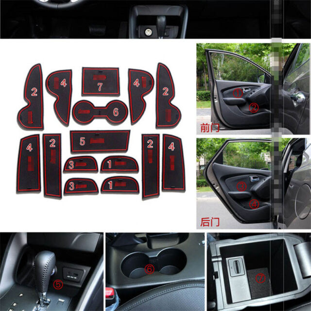 For Hyundai IX35 2009-2012 Non-slip Interior Door Slot Pad Rubber Cup Holder Mat