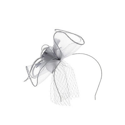 NEW Collection Crinoline Fascinator W Feather And Veil GHRL802M Grey