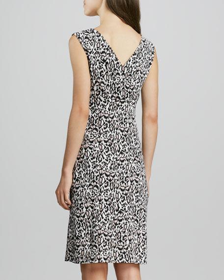 Diane Von Furstenberg 8 XS Leopard Sheath Dress 100% Silk Jersey braun Stretchy