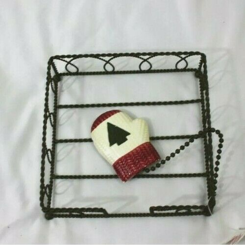 Details about  /Metal Christmas Cermaic Mitten Luncheon Napkin Weight Basket Amscan Collection