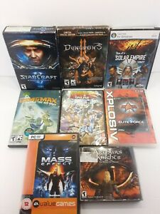 Lot of 8 PC Games, Dungeons II, mass effect, star craft 2 wings of liberty +++