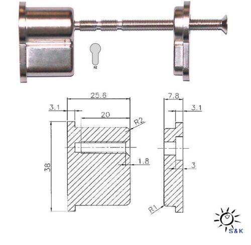 kürzbar Set für Türdicken 35-110 mm PZ Profilzylinder Blindzylinder