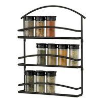 Metal Spice Rack Wall Mount Scrool Black Kitchen Cooking Bakin Home Kitchen on Sale