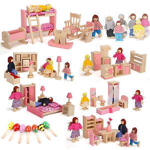 Kids Miniature Dollhouse Furniture Set Wooden House Family Pretend