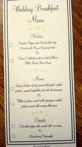 Wedding Breakfast Menu Choice Cards **18 Colours Available**