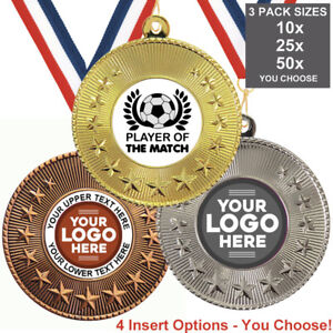 FOOTBALL-PLAYER-OF-THE-MATCH-METAL-MEDALS-50mm-PACK-OF-10-RIBBONS-INSERTS-LOGO