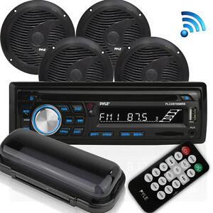 Pyle-PLCDBT95MRB-Bluetooth-Marine-Stereo-Radio-Receiver-amp-Waterproof-Speaker-Kit