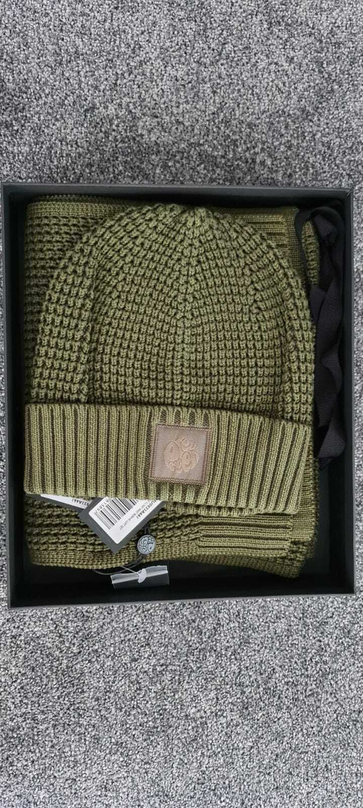 Pretty Green Beanie Hat And Scarf GIFT SET KHAKI With a GIFT BOX - BWT