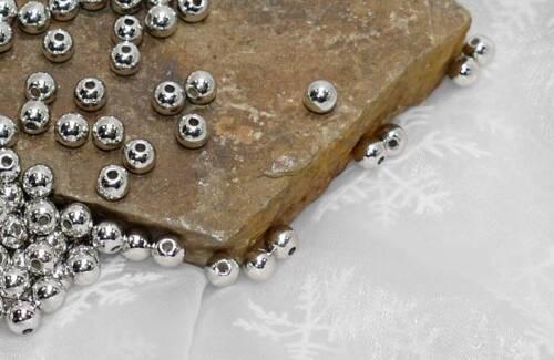500 Perlen silber metallic Hochzeit Wachsperlen 6mm Perle mit Loch Deko