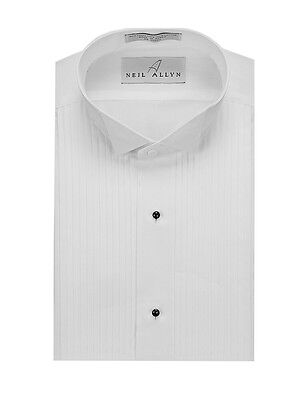 "SLIM FIT. Men's Wing Collar 1/4"" Pleats, White Tuxedo Shirt. Formal, Wedding"