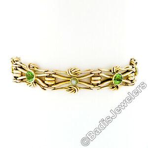 Antico-Vittoriano-15k-Oro-Peridoto-Verde-e-Perle-Love-Nodo-Link-Catena-Bracciale
