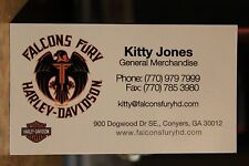 Falcons Fury Conyers Georgia Motorcycles Business Card Harley Davidson