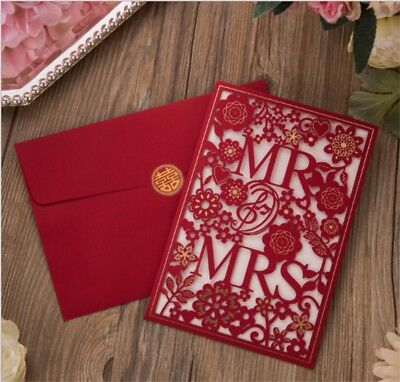 Personalised Laser Cut Wedding Invitation Card Day Evening Free Envelopes RED