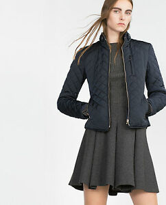 ZARA WOMAN Quilted Jacket Navy Blue Ref.: 0518/049/401 Size M ... : navy blue quilted coat - Adamdwight.com