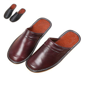 464a365661c Details about Mens Slippers Shoes Classic Leather Closed Toe Indoor House  Home Slippers NEW