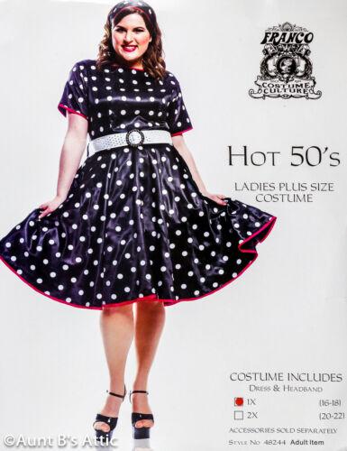 50/'s Polka Dot Day Dress Costume 3 Pc Blk /& Wht Poly Satin Dress Belt /& Headband