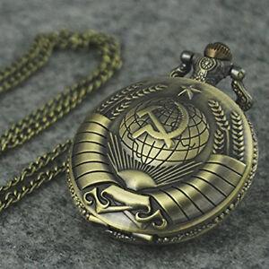 Symbol-Retro-Bronzeton-Steampunk-Vintage-Quarz-Taschenuhr-Halsketten-Anhaenger