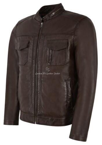 in 7861 vera Giacca moda classica pelle Style Biker 100 di agnello pelle marrone uomo faxxgw