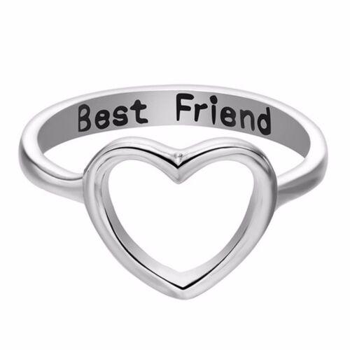Fashion Women Love Heart Best Friend Ring Promise Jewelry Friendship Band Rings